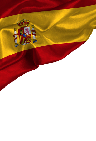 Grunge colorful flag Spain with copyspace for your text or images,isolated on white background. Close up, fluttering downwind.