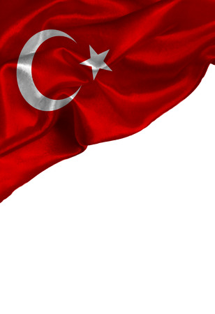 Grunge colorful flag Turkey with copyspace for your text or images,isolated on white background. Close up, fluttering downwind.