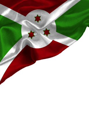 Grunge colorful flag Burundi with copyspace for your text or images,isolated on white background. Close up, fluttering downwind. Stock Photo