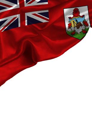 Grunge kleurrijke vlag Bermuda eilanden met copyspace voor uw tekst of afbeeldingen, geïsoleerd op een witte achtergrond. Close-up, fladderend met de wind mee. Stockfoto