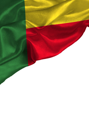 Grunge colorful flag Benin with copyspace for your text or images,isolated on white background. Close up, fluttering downwind. Reklamní fotografie