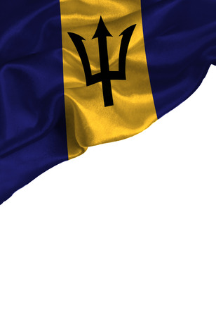 Grunge colorful flag Barbados with copyspace for your text or images,isolated on white background. Close up, fluttering downwind. Reklamní fotografie