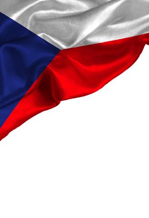 あなたのテキストや画像、白い背景で隔離の copyspace とグランジのカラフルな旗のチェコ共和国。クローズ アップ、風下に舞います。 写真素材 - 88239769