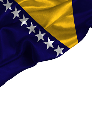 Grunge colorful flag Bosnia and Herzegovina with copyspace for your text or images,isolated on white background. Close up, fluttering downwind.