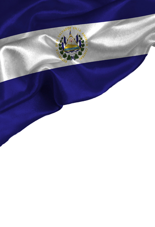 bandera de el salvador: Grunge colorful flag El Salvador with copyspace for your text or images,isolated on white background. Close up, fluttering downwind.