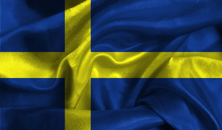 Realistic flag of Sweden on the wavy surface of fabric. This flag can be used in design. Stock Photo