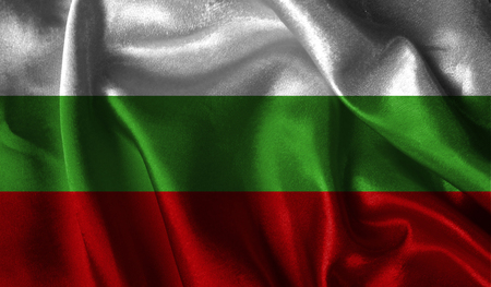 antarctica: Realistic flag of Bulgaria on the wavy surface of fabric.