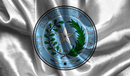 Realistic flag of Seal of Texas on the wavy surface of fabric.