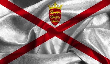 Realistic flag of Jersey on the wavy surface of fabric.