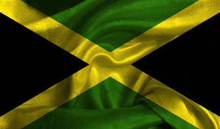 bandera honduras: Realistic flag of Jamaica on the wavy surface of fabric. Foto de archivo