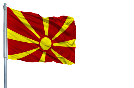National flag of Macedonia on a flagpole, isolated on white background.