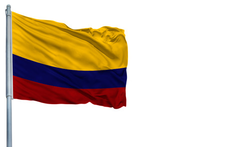 National flag of Colombia on a flagpole, isolated on white background.