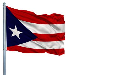 Nationale vlag van Puerto Rico op een vlaggenmast, geïsoleerd op een witte achtergrond.