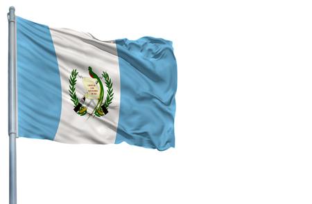 National flag of Guatemala on a flagpole, isolated on white background.