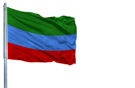 National flag of Dagestan on a flagpole, isolated on white background.