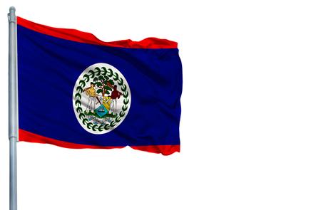 National flag of Belize on a flagpole, isolated on white background. Stock Photo