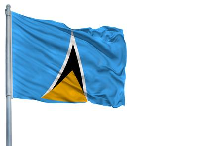 National flag of Saint Lucia on a flagpole, isolated on white background.