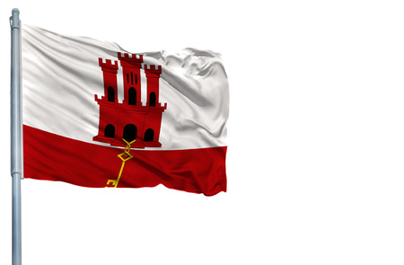 National flag of Gibraltar on a flagpole, isolated on white background. Stock Photo