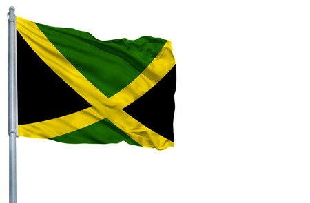 jamaican: National flag of Jamaica on a flagpole, isolated on white background.