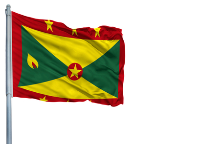 National flag of Grenada on a flagpole, isolated on white background. Stock Photo