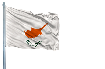 National flag of Cyprus on a flagpole, isolated on white background.