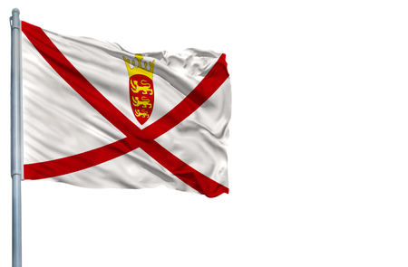 arms trade: National flag of Jersey on a flagpole, isolated on white background.