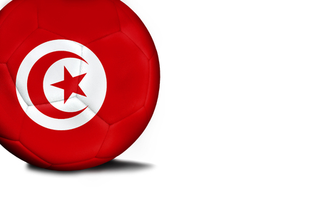 The flag of Tunisia was represented on the ball, the ball is isolated on a white background with space for your text. Stock Photo