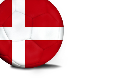 The flag of Denmark was represented on the ball, the ball is isolated on a white background with space for your text.