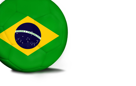 The flag of Brazil was represented on the ball, the ball is isolated on a white background with space for your text. Stock Photo