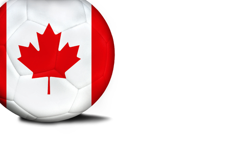 The flag of Canada was represented on the ball, the ball is isolated on a white background with space for your text.