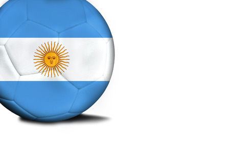 The flag of Argentina was represented on the ball, the ball is isolated on a white background with space for your text. Stock Photo