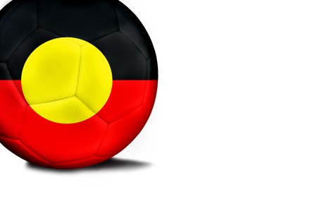 The flag of Australian Aboriginal was represented on the ball, the ball is isolated on a white background with space for your text.