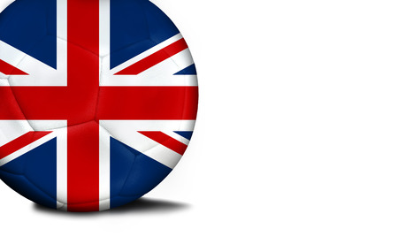 The flag of United Kingdom was represented on the ball, the ball is isolated on a white background with space for your text. Stock Photo