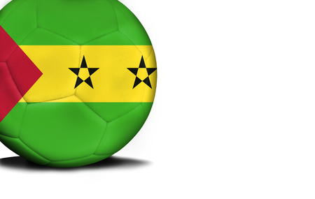 The flag of Sao Tome and Principe was represented on the ball, the ball is isolated on a white background with space for your text. Stock Photo