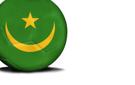 The flag of Mauritania was represented on the ball, the ball is isolated on a white background with space for your text.