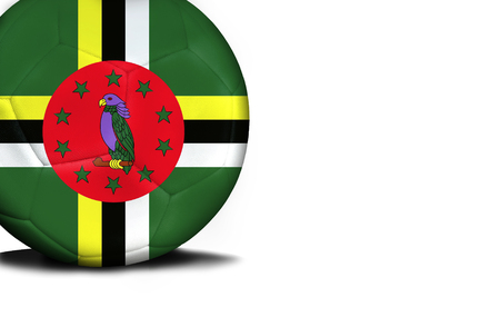 The flag of Dominica was represented on the ball, the ball is isolated on a white background with space for your text. Stock Photo