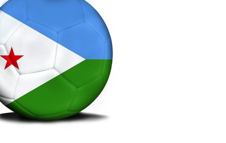 The flag of Djibouti was represented on the ball, the ball is isolated on a white background with space for your text. Stock Photo