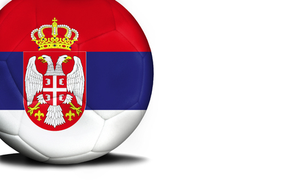 The flag of Serbia was represented on the ball, the ball is isolated on a white background with space for your text.