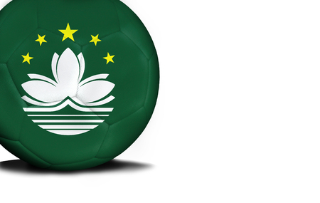 macau: The flag of Macau was represented on the ball, the ball is isolated on a white background with space for your text.