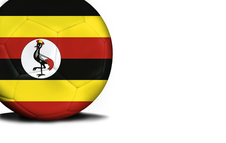 The flag of Uganda was represented on the ball, the ball is isolated on a white background with space for your text. Stock Photo