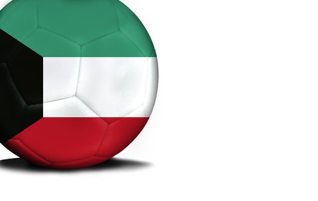 The flag of Kuwait was represented on the ball, the ball is isolated on a white background with space for your text.