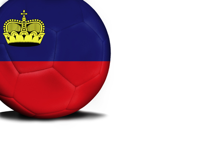 The flag of Liechtenstein was represented on the ball, the ball is isolated on a white background with space for your text.