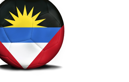 The flag of Antigua and Barbuda was represented on the ball, the ball is isolated on a white background with space for your text.
