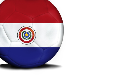 bandera de paraguay: The flag of Paraguay was represented on the ball, the ball is isolated on a white background with space for your text.