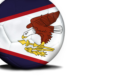 The flag of American Samoa was represented on the ball, the ball is isolated on a white background with space for your text.