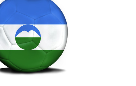 The flag of Kabardino-Balkaria was represented on the ball, the ball is isolated on a white background with space for your text.