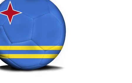 The flag of Aruba was represented on the ball, the ball is isolated on a white background with space for your text. Stock Photo