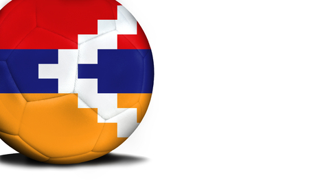 The flag of Nagorno-Karabakh Republic was represented on the ball, the ball is isolated on a white background with space for your text. Stock Photo