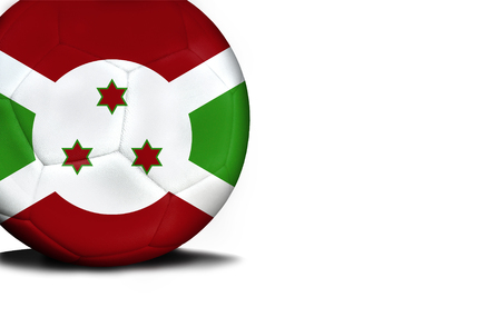 The flag of Burundi was represented on the ball, the ball is isolated on a white background with space for your text. Stock Photo