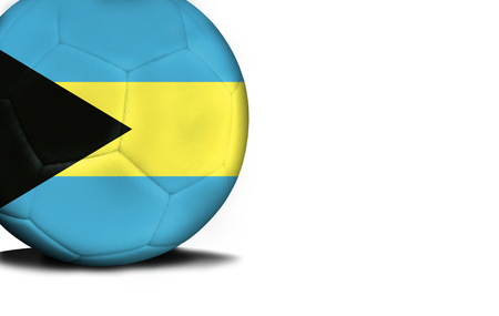 The flag of Bahamas was represented on the ball, the ball is isolated on a white background with space for your text. Stock Photo